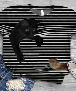 3D Striped Cat T-Shirt at The Great Cat Store