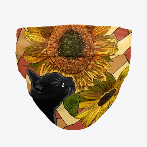 Black Cat and Sunflowers Face Mask