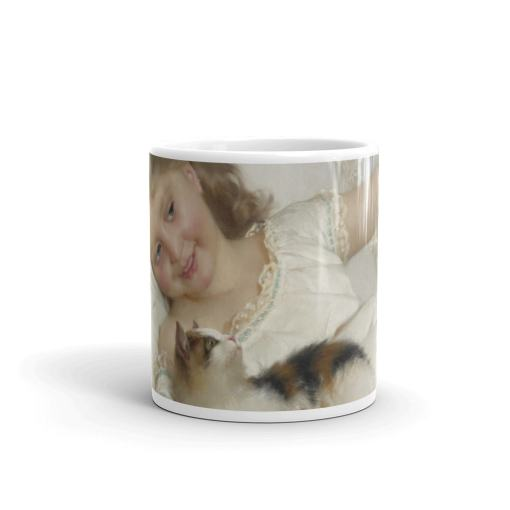 Girl Playing with a Kitten Art Mug