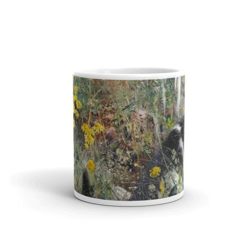 Tuxedo Cat in Wildflowers Art Mug by Bruno Liljefors