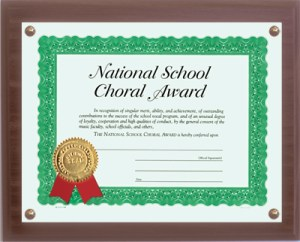 National School Choral Certificate