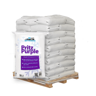 50lb bag of Pritz Purple in front of pallet