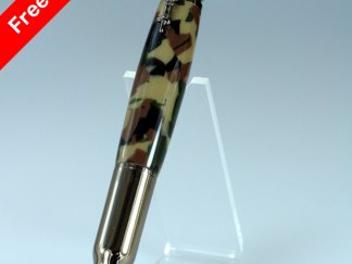 Hand Crafted 30 Cal. Carbine Bullet Pen with Digtal Woodland Camouflage Barrel