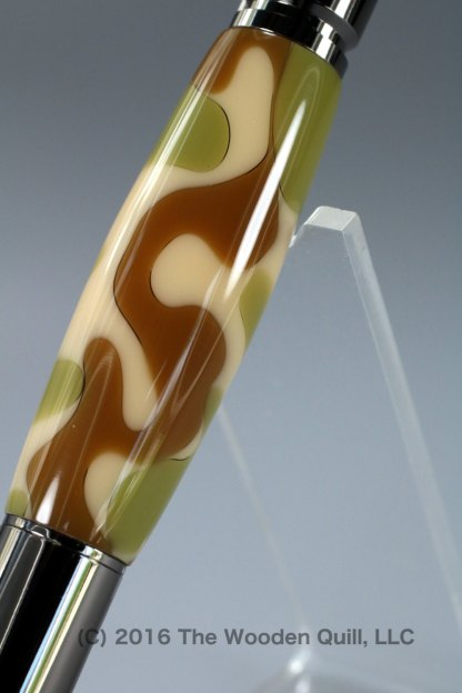 Hand Crafted 30 Caliber Bolt Action Pen - Scrubland Camouflage Barrel