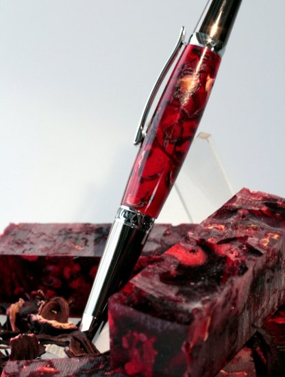 Handmade Craft Supplies Potpourri Hibiscus Flower Botanical Acrylic Pen Blank