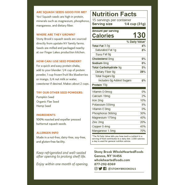 Stony Brook Squash Protein Powder