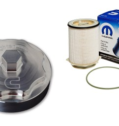6 7l cummins billet fuel filter cap with filter [ 2700 x 1700 Pixel ]