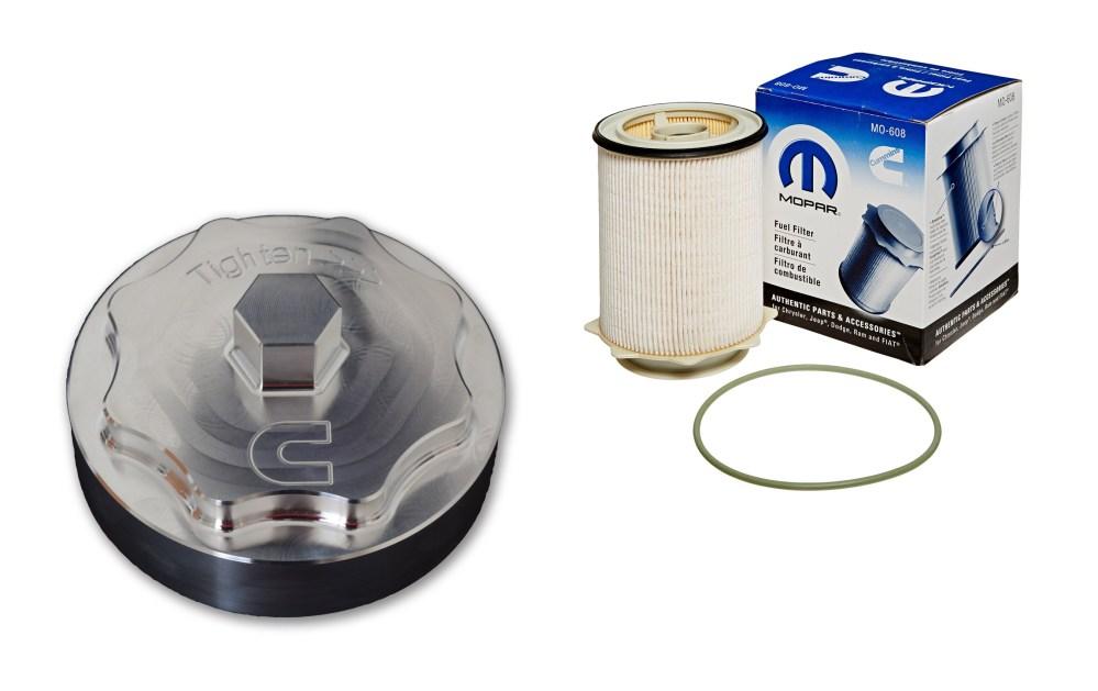 medium resolution of 6 7l cummins billet fuel filter cap with filter
