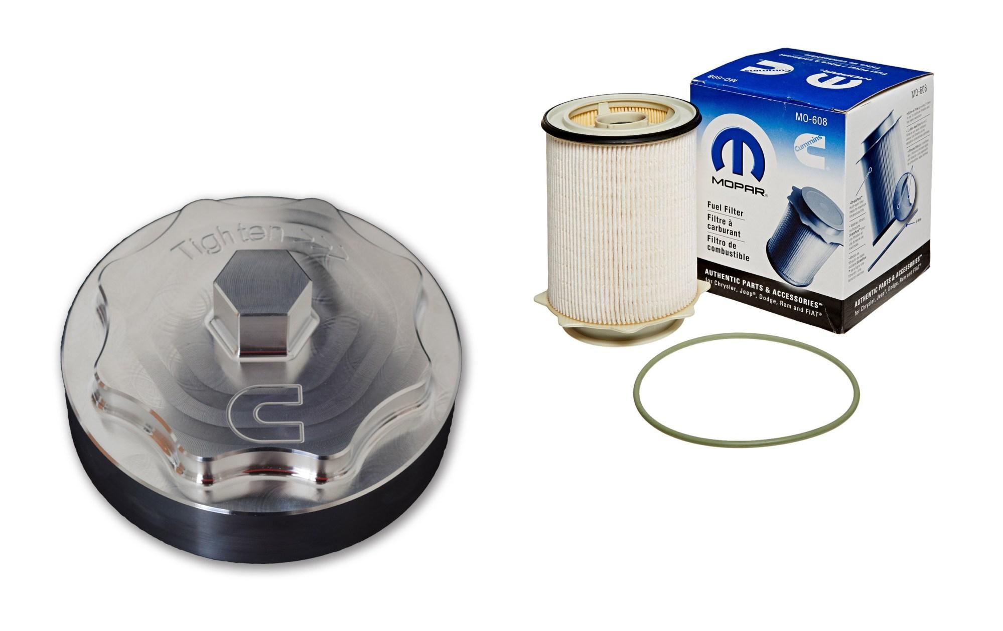 hight resolution of 6 7l cummins billet fuel filter cap with filter