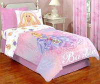 Barbie Full Bedding Set - 5pc Girls Rose Bed-in-a-Bag ...