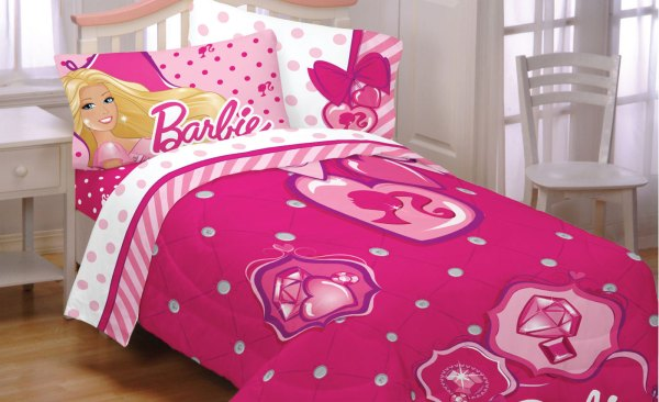 Barbie Twin Bed Comforter Set - 3pc Sweet Silhouette Sham And Bedskirt