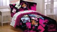 3pc Monster High Dolls Twin BED Sheet SET Pink Ghouls ...