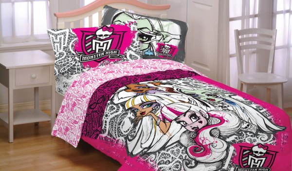 Monster High Twin Bedding Set - 5pc Skulls And Lace Comforter Sheets Sham