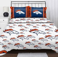 NFL Denver Broncos Logo Sheets Football Full Bed Sheet Set
