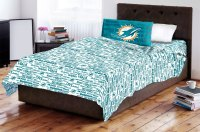 Miami Dolphins Twin Sheet Set Anthem - 3pc NFL Bedding Sheets