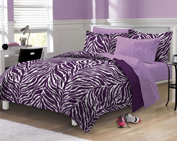 Purple Zebra Stripe Bedding Set - Animal Print Comforter