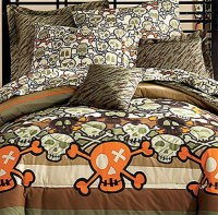 Skull Crossbones Comforter Set - 5pc Skulls Bedding - Full ...