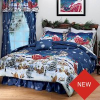 Christmas Santa Comforter Set - Holiday Bedding Set - Twin Bed
