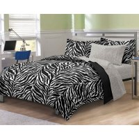 Zebra Print Twin Bedding Set 5pc Black White Bed