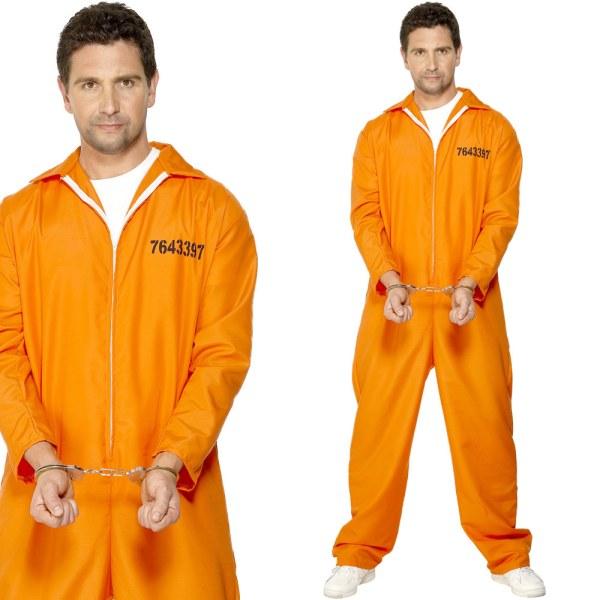Mens Convict Fancy Dress Costume Orange Prison Jumpsuit