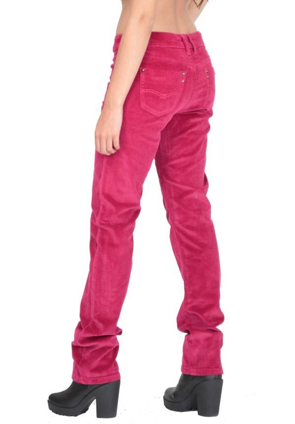 Ladies Womens Slim Skinny Stretchy Cords Pink Corduroy