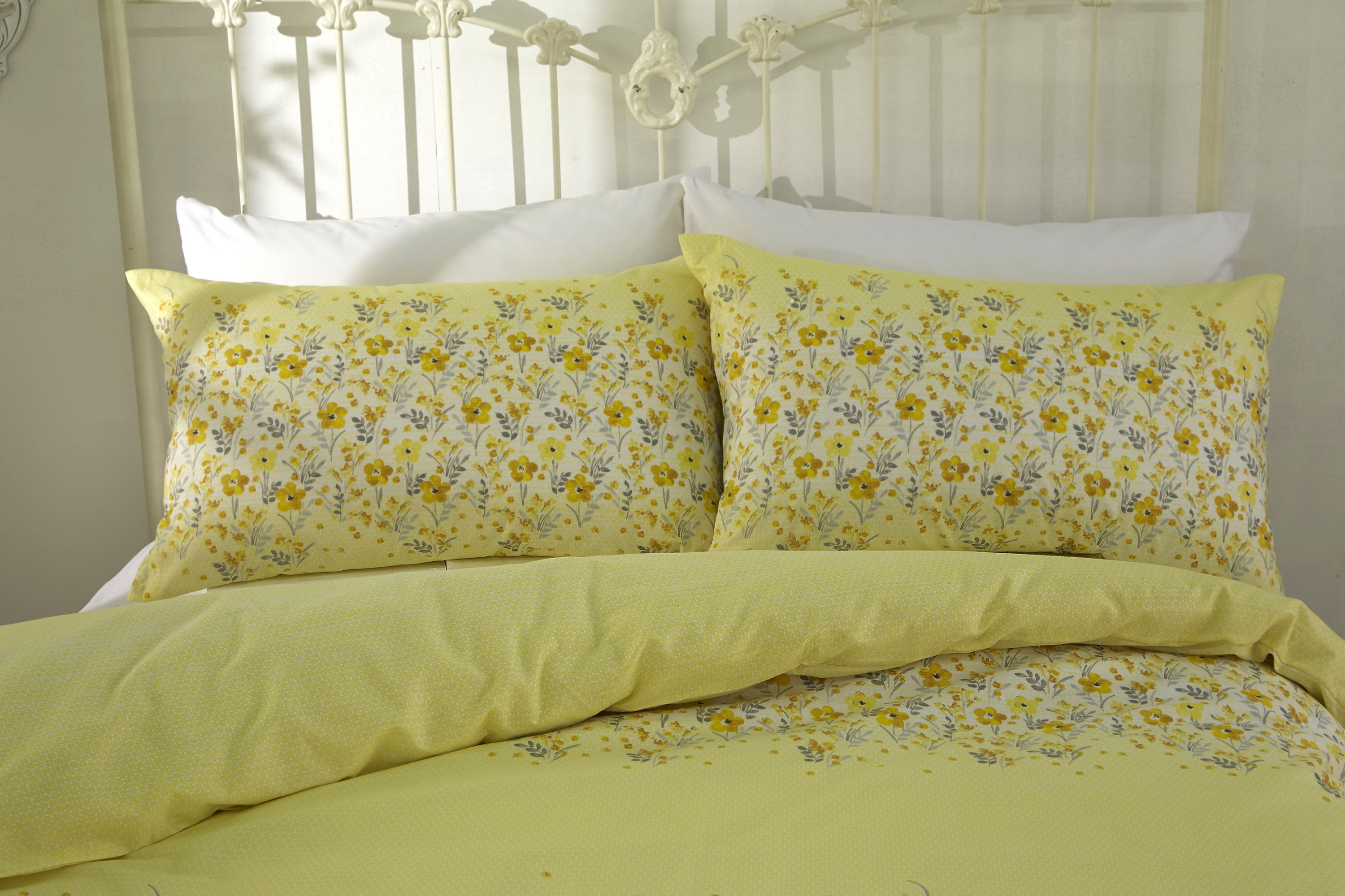 Yellow Quality Cotton Mix Megan Floral Duvet Cover Set