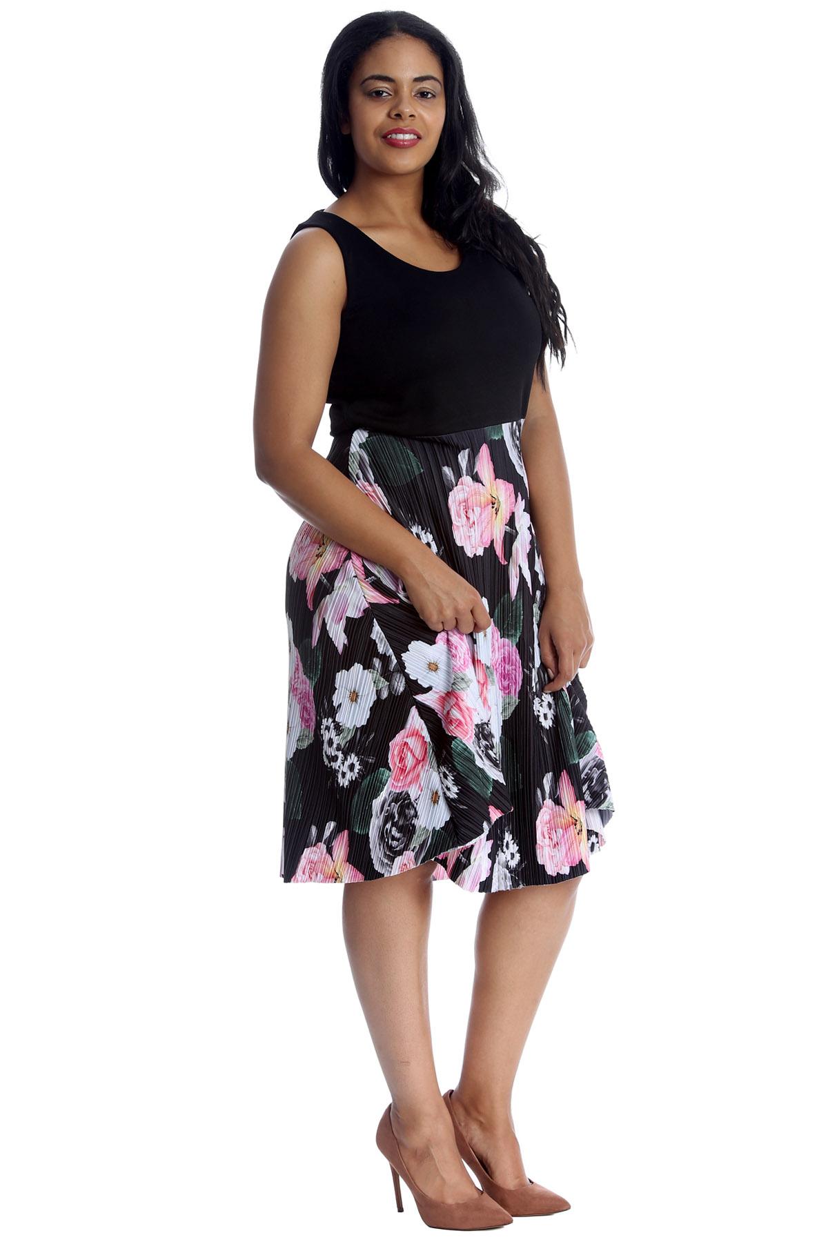 New Womens Dress Plus Size Ladies Floral Print Skater Style Sleeveless Skirt Top | eBay