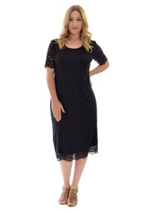 New Womens Plus Size Dress Ladies Midi Tunic Floral Lace ...