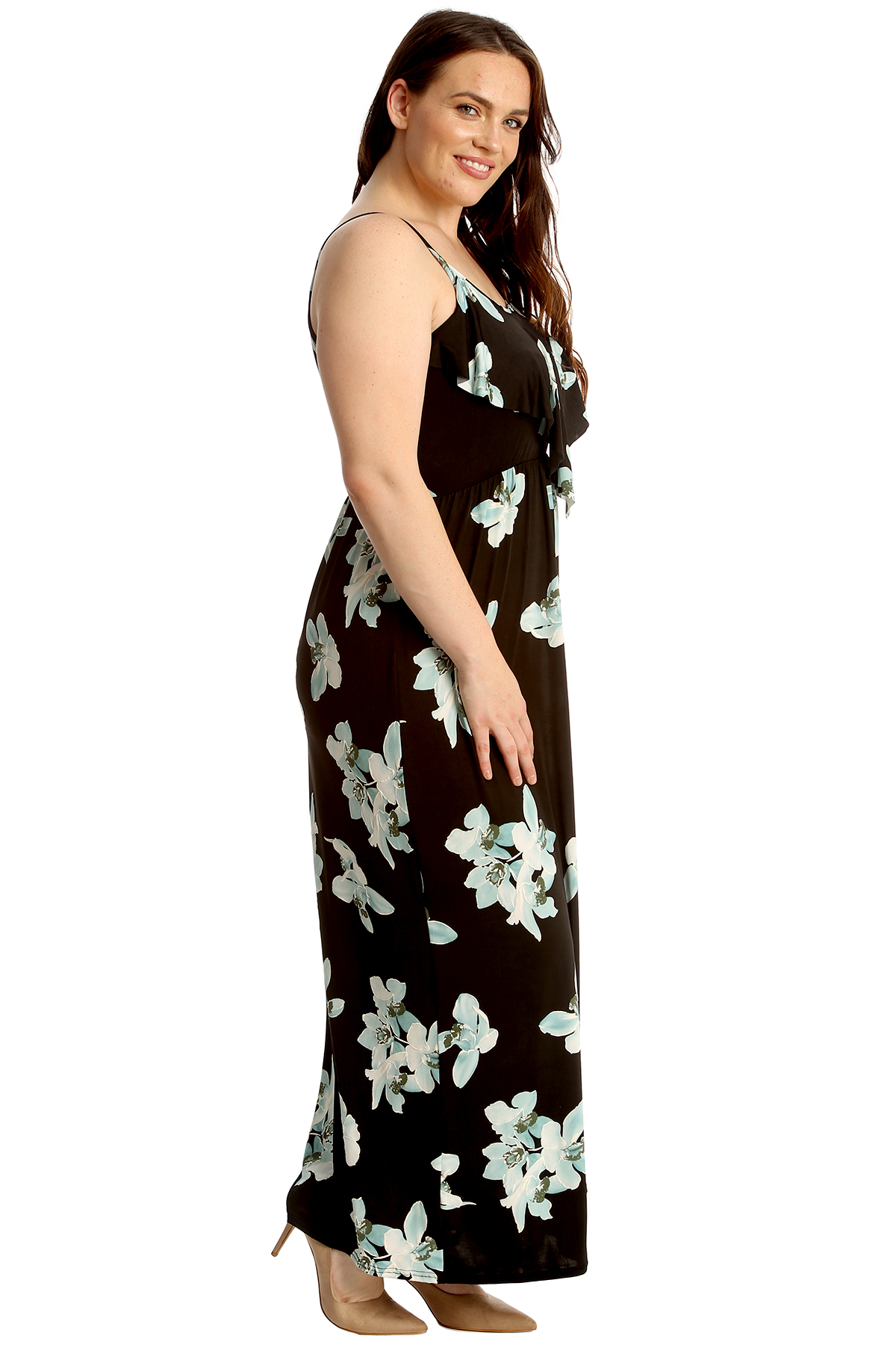 New Womens Plus Size Maxi Dress Ladies Lily Floral Print Frill Top Sleeveless | eBay