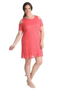Womens Dress Plus Size Ladies Tunic Floral Lace Cut Cold ...