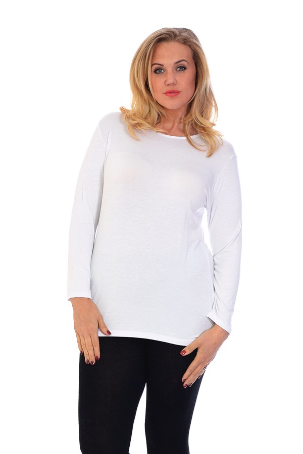 Ladies T-shirt Size Womens Top Plain Long Sleeve Basic Nouvelle