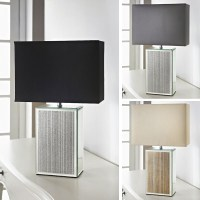 Stylish Square Glitter Mirrored Base Table Lamp Modern ...