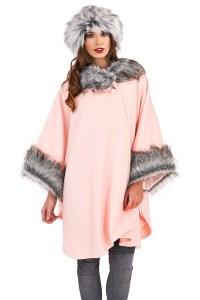 Womens Cape Boutique Ladies New One Size Faux Fur Trim ...