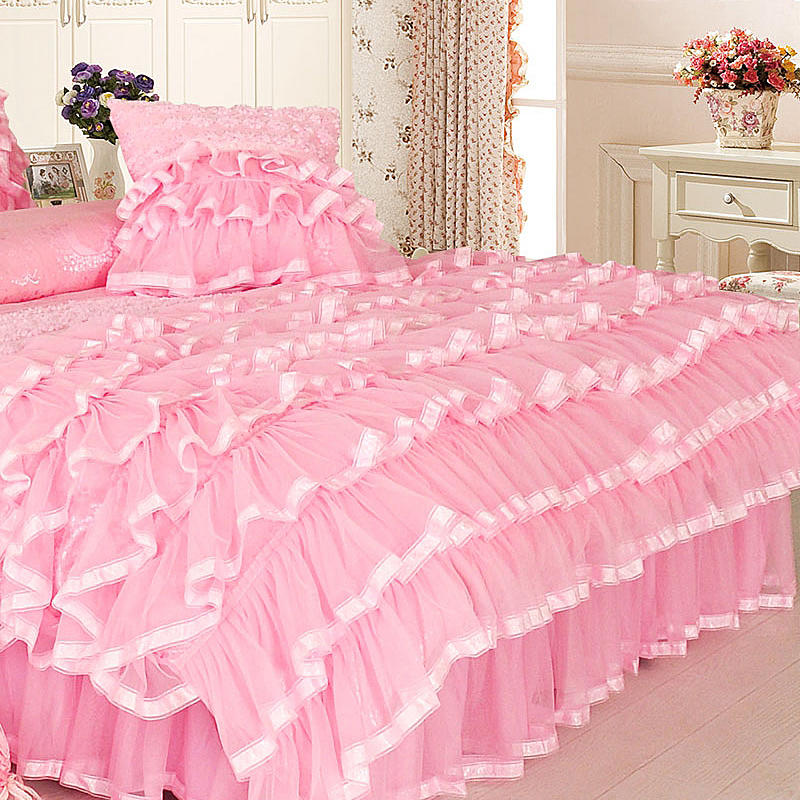 King Queen Bettwäsche Storeluxy | Princess Style Twin Queen King Size Rosa Creme ...