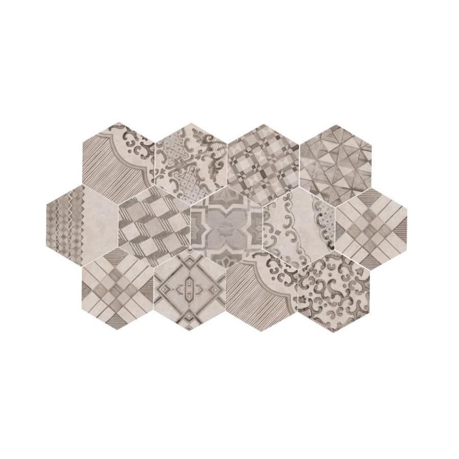 Clays 21x182 Marazzi decoro cementine freddo piastrella esagonale in gres porcellanato cottonlava