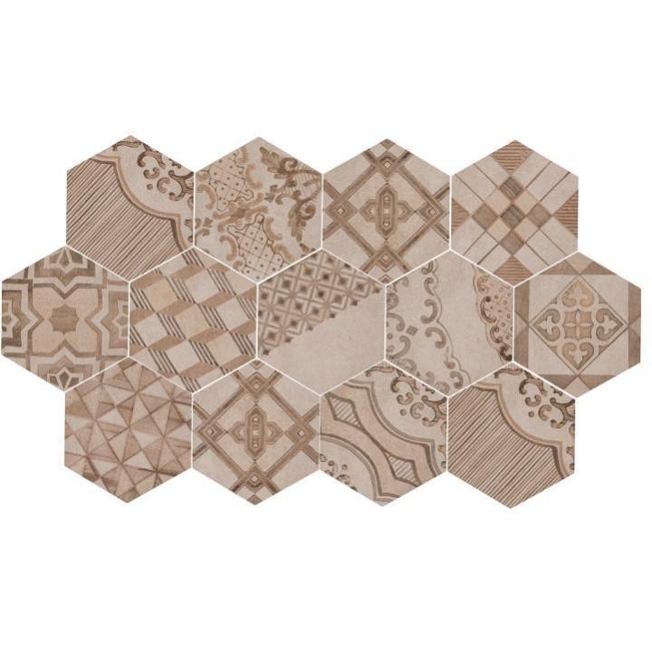 Clays 21x182 Marazzi decoro cementine caldo piastrella esagonale in gres porcellanato earth