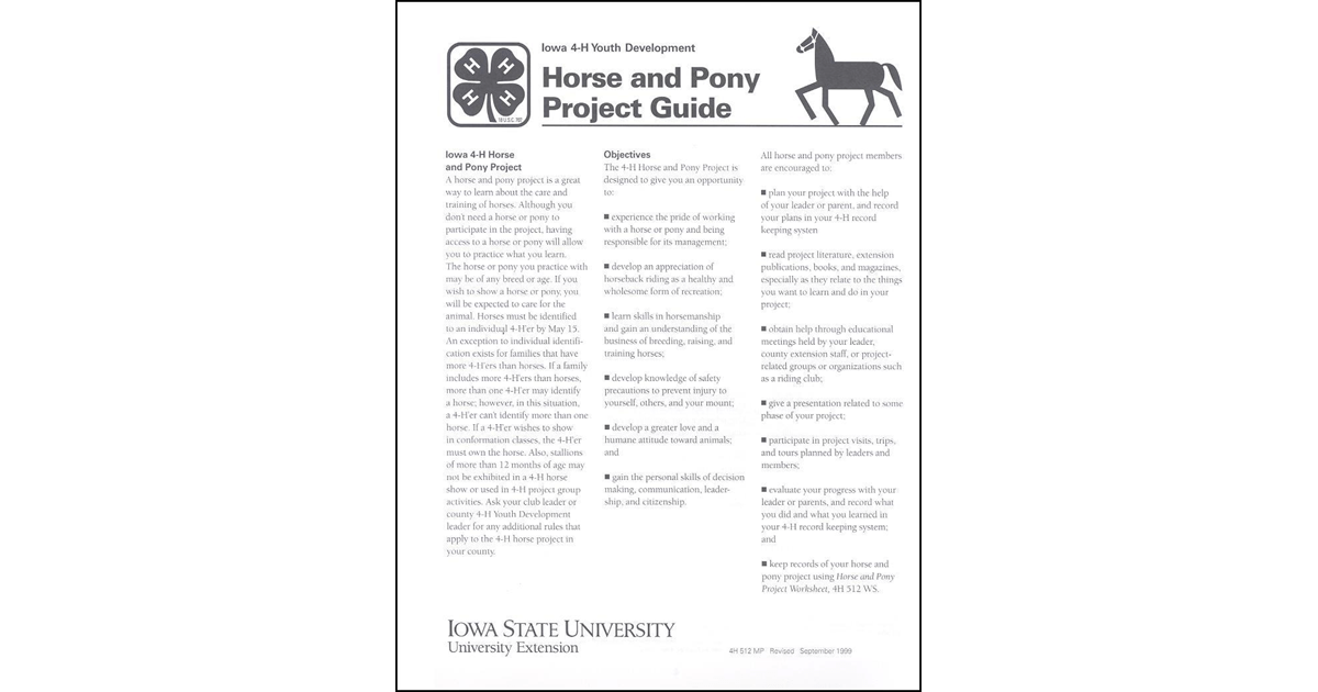 4-H Horse and Pony Project Guide (Youth)