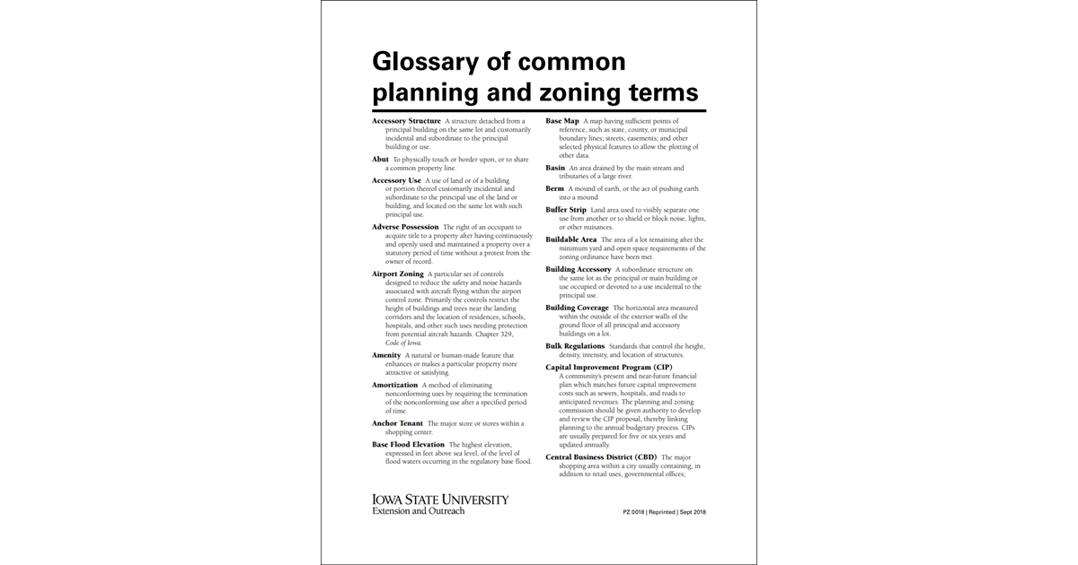 Glossary of Common Planning and Zoning Terms