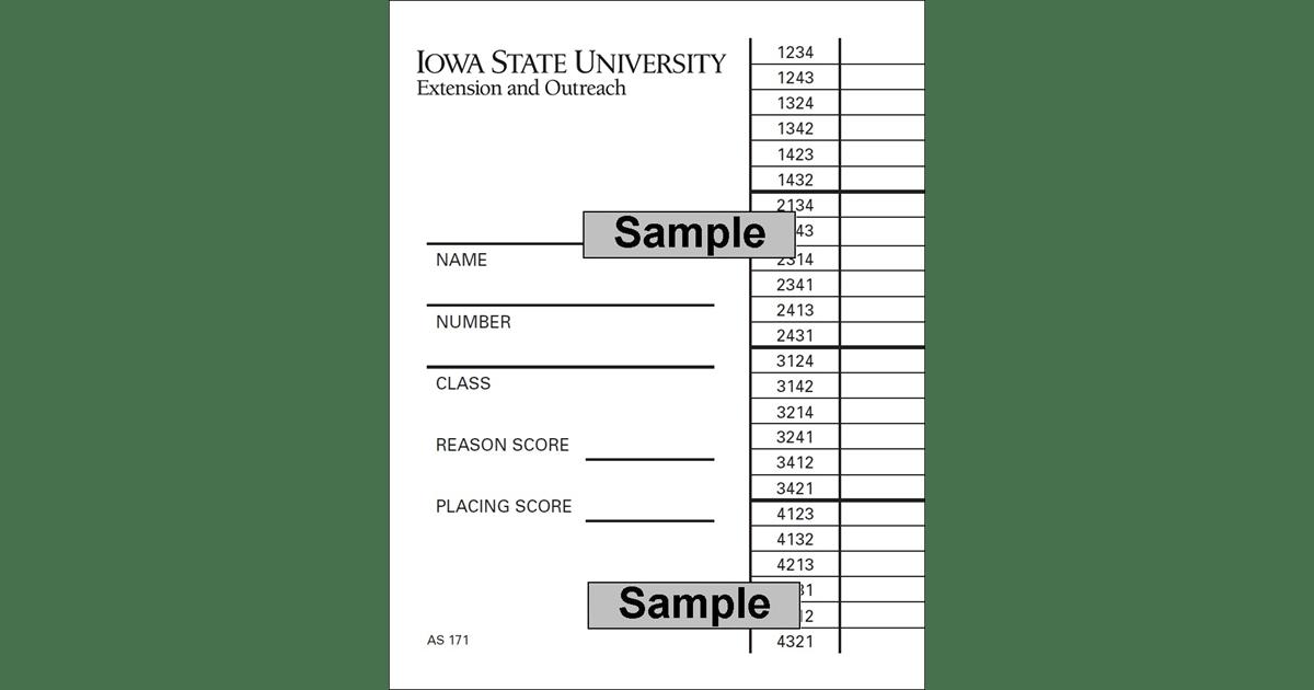 Livestock Judging Scorecard (Unit=Pkg of 25)