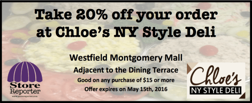 Chloe's NY Style Deli 20% off coupon: http://chloesnystyledeli.com