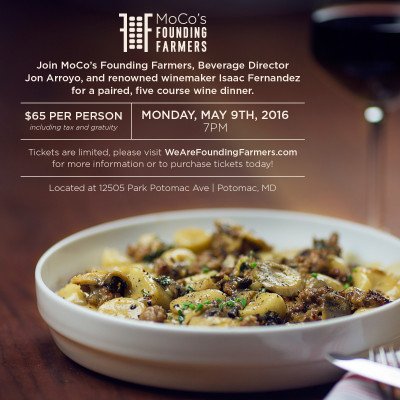 Founding Farmers Wine Dinner ad: http://www.wearefoundingfarmers.com/let-mocos-founding-farmers-wine-dine-you/
