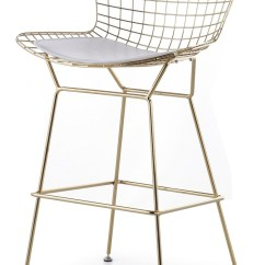 Bertoia Wire Chair Original Polywood Adirondack Chairs Sale Counter Stool In Gold Frame - Advancedinteriordesigns.com