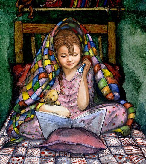 reading with flashlight