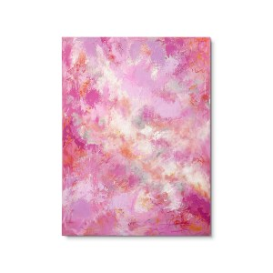 Abstract contemporary painting. Soft pink, orange, purple hues.