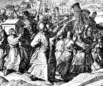Gli Israeliti trasportano l'Arca dell'Alleanza sul campo di battaglia a Gerico. Dominio pubblico.