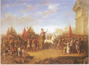 Gelone ritorna vittorioso dopo la battaglia di Imera in un dipinto di Giuseppe Carta (1853)