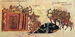 Miniatura di Giovanni Scilitze che rappresenta l'assedio di Costantinopoli del 1047 compiuto dalle truppe di Leone Tornicio.
