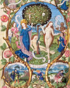 Adamo ed Eva: l'albero della vita e l'albero della morte. Messale di Salisburgo 1489