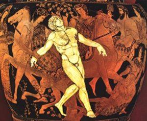 Cratere apulo del Pittore di Talos, da Ruvo di Puglia. Morte di Talos