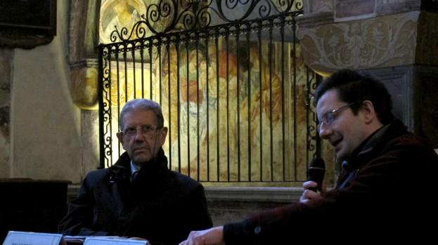 Salvatore Settis e Giovanni Agosti in Santa Maria delle Grazie a Varallo (foto A. Mazzotta)